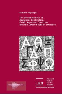 Picture of The Morphosyntax of Argument Realization: Greek Argument Structure and the Lexicon-Syntax Interface